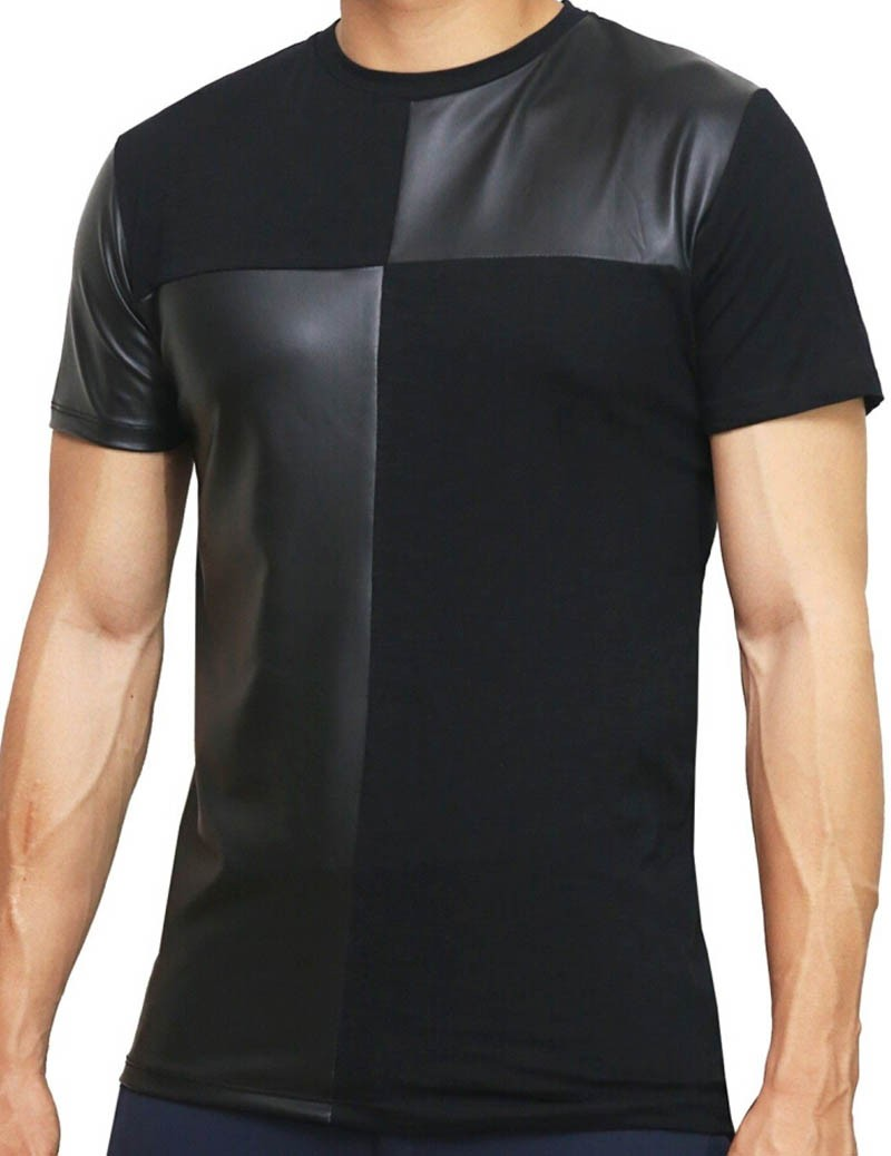 Fashion Men's Cross Splice Rock Short Sleeves Shirt Fitness Wear Cotton Shirt UnderShirt MU396