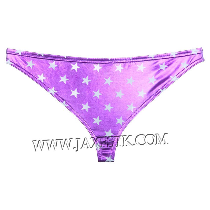 Men's Back Short Shiny Thong Bottom Briefs Star Faux Bilini Underwear MU406