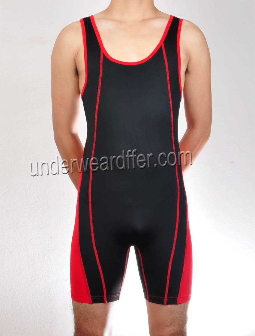 Men Splice Vest Bodysuit Super Elastic Wrestling Swimwear Band Leg Sport Leotard MU401
