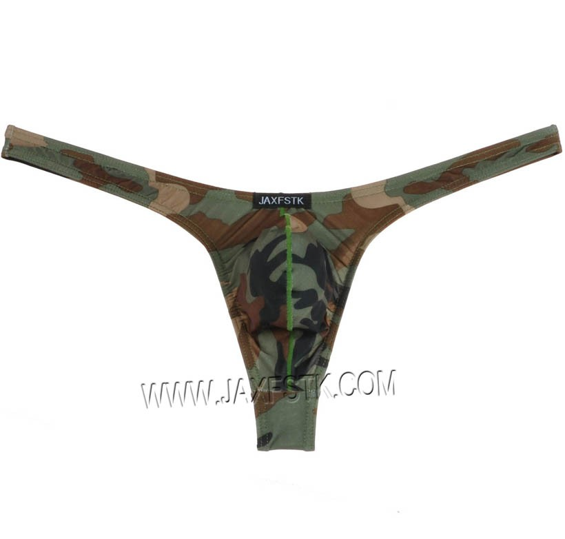 Sexy U-Brief Camouflage Men's Bulge Pouch T-Back Underwear Thong Bikini MU331 M L XL