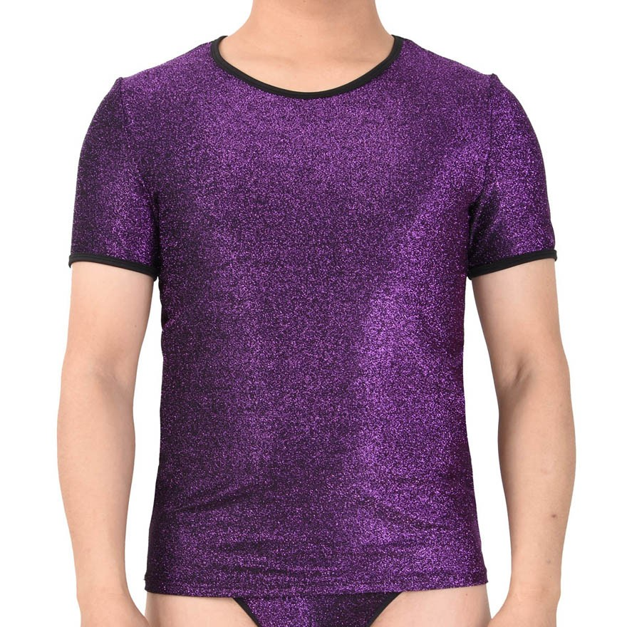 Shiny Men's Stretchy & Soft T-Shirts Cool Male Tee Undershort Short Sleeve Vest