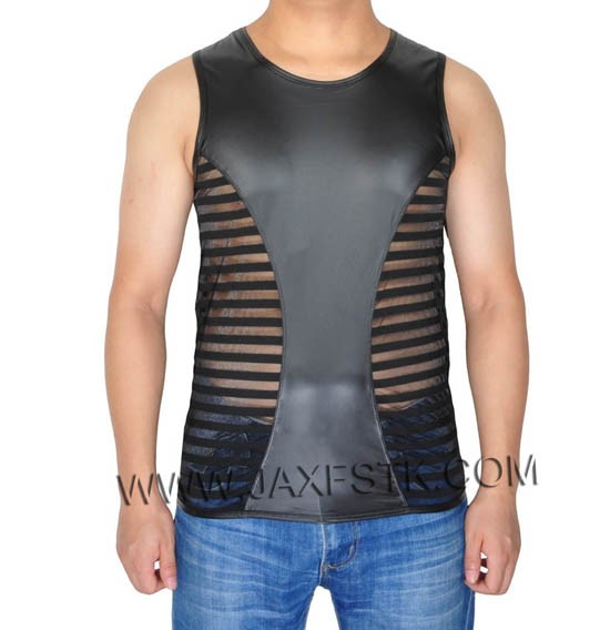 Fashin Guy Tank Top T-Shirts Men's Leater Like Tee See-Through Striped Mesh Vest