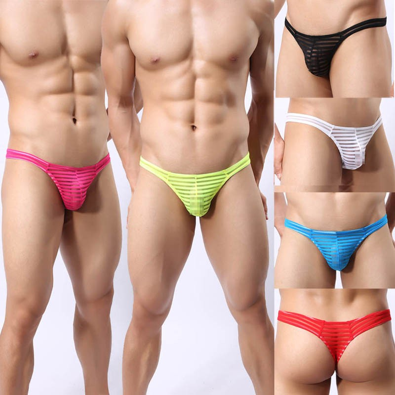 Update Men's Solid Mesh Striped Thong Spun Yarn Bikini Tanga Underwear Pouch T-Back Pants Mesh G-String MU1962
