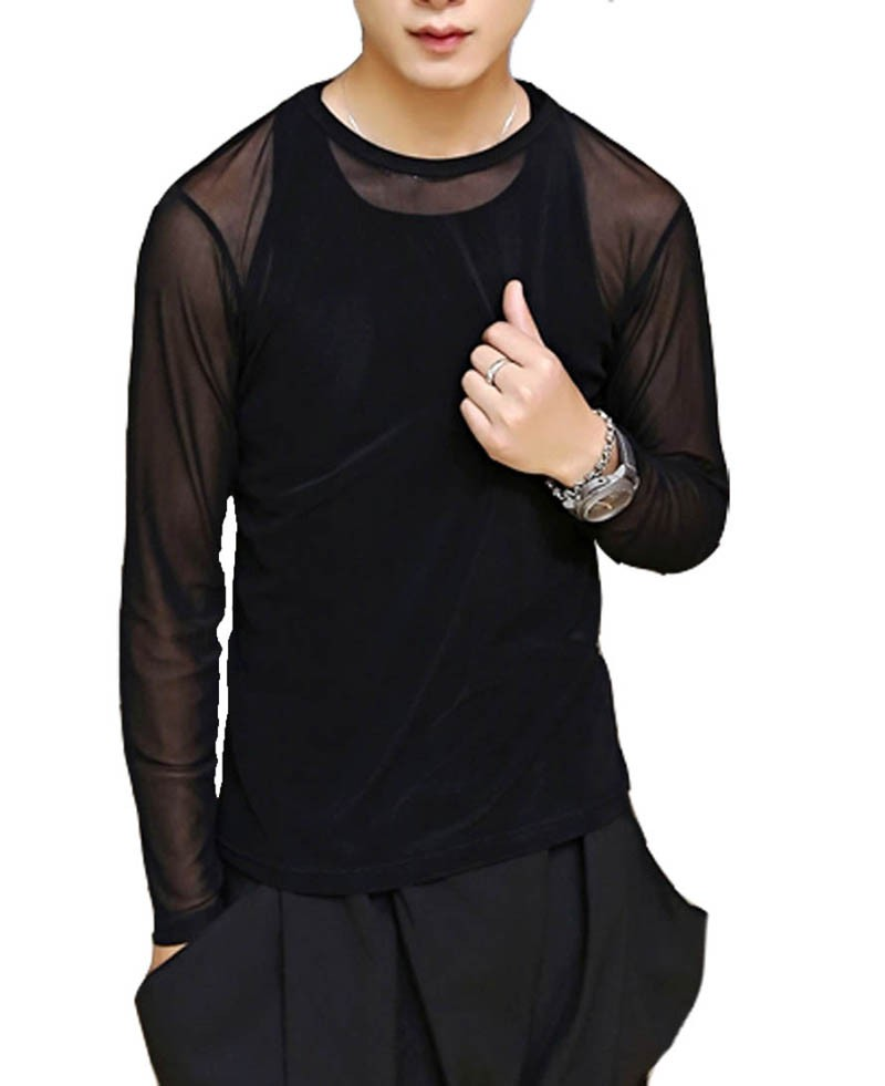 Sexy Men New Sports Long Sleeve Shirt See-Through Mesh WORKOUT Top M~XL MU878X