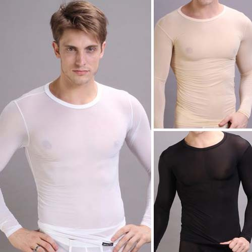 Sexy Men's Smooth Thermal underwear Top T-shirt MU248