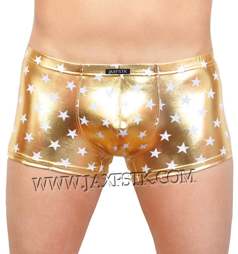 Men's Shiny Star Faux Boxer Underwear Bulge Pouch Trunks Square Cut Short Pants MU405
