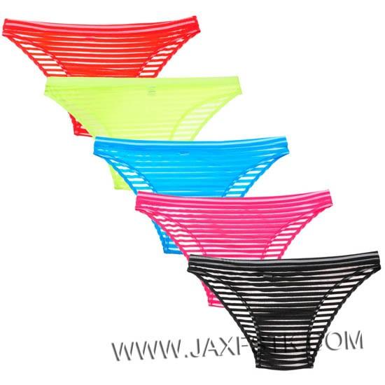 Men's See-through Striped Mesh Briefs Underwear Flat Front Underpants Spun Yarn Bikini Briefs