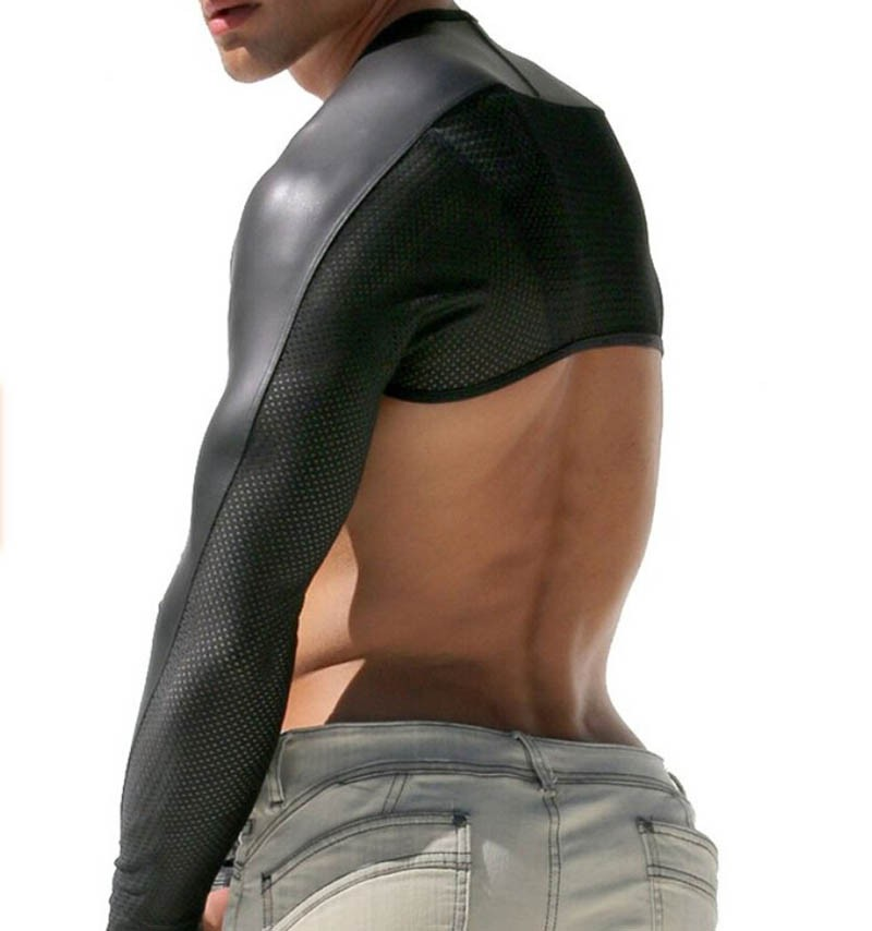 Mens Faux Leather With Breath Holes Hollow Arm Sleeves Shrug LHTX