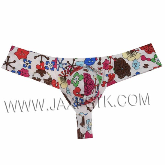 32572fedf4d29 New Flowery Sexy Bikini Underwear Men s Thongs and G-Strings Smooth  Protruding Pouch Cotton Male Thong Underwear Men Underpants