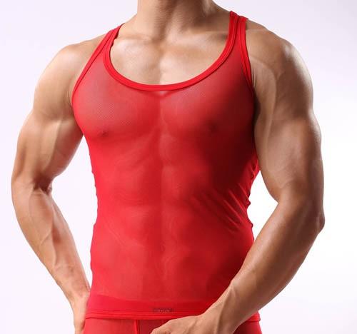 Super Sexy Men S See Through Soft Mesh V Neck Line T