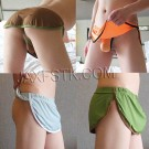 Sexy Men's Home Pant Casual Shorts With Penis Pouch Thong Elastic Ice Silk Trunks 3JJB
