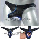 Men Long Pouch Thong Leather Like Nuts Out String T-back Bikini Pants Isolation Underwear MU417
