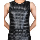 Shiny Men's 3D Pattern Shirt Leather Like Muscle Shirt Tee Tops Faux Sleeveless Top Shirt Wear SLF-BX