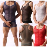 Super Sexy Men's See Through Soft Mesh V-neck Line T-Shirts Underwear Tank Top Vest Size M L XL MU344