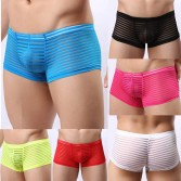 Upgrade Size Men's Mesh Striped Boxer Spun Yarn Short Pants Underwear Pouch Trunks Cut Square Boxers MU1960