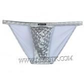 Cool Shiny Men's Pouch Mini Briefs Leather Like Thong Underwear Open Side Briefs MU429X