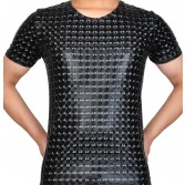 Plus Size Men Leather Like T-shirt 3D Plaid PU nderwear Sport Short Muscle Shirt MUS404