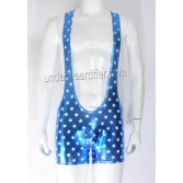 Men's Star Faux Sports Jumpsuits Underwear Wrestling Singlet Vest Boxer Leotard MU410