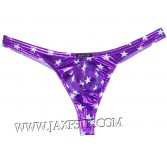 New Men's Bright Stars Pattern Thong Faux Leather Bikini Pouch T-Back Underwear MU428X