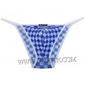 Men's Sheer Checks Mesh Bulge Pouch Briefs Underwear Belt String Bikinis Thong MU223X