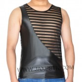 Fashion Men's Transparent Shift Striped Mesh T-shirts Soft Leather Like Vest Tank Top Original Transparent Shift Muscle Shirt