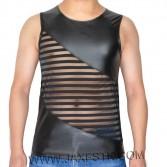 Avant Garde Sleeveless T-Shirts Men's Leater Like Striped Transparent Mesh Vest