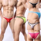 Update Men's Border Mesh Striped Briefs Spun Yarn Bikini Brief Underwear Pouch Mesh mini Pants MU1963