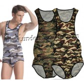 Sexy Man's Camouflage GYM Briefs Leotard Bodysuit Underwear Singlet Freestyle Wrestling Vest 3 Colors Size S M L MU1121