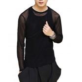 Sexy Men New Sports Long Sleeve Shirt See-Through Mesh WORKOUT Top M~XL MU878X