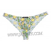 Men's Pouch Bikini Briefs Thong Bottom Brief Back Printed Spandex Underwear MUS206