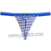 Colorful Checkered Men Wide Pouch T-Back Underwear Belt Mini String Bikini Tanga MU218X