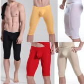 Super Smooth Men's Bulge Pouch Shorts U-brief Design Underwear Thin Shorts Half Pants M L XL
