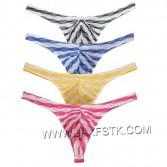 Sexy Men's Grille Cloth Bikini Thongs Underwear MaleT-Back Striped G-Strings MU266