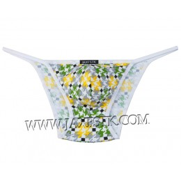 Men's Pouch Brief Rope Underwear Printed Spandex Swimwear Bikini Briefs MUS205