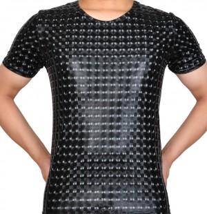 Plus Size Men Leather Like T-shirt 3D Plaid PU nderwear Sport Short Muscle Shirt MUS404