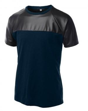 Men Splice T-Shirt Leather Like&Cotton Vest Raglan Tank Top Short Muscle Shirt MU395
