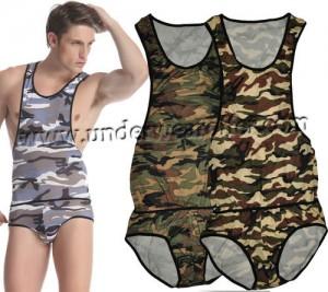 Sexy Man's Camouflage GYM Briefs Leotard Bodysuit Underwear Singlet Freestyle Wrestling Vest 3 Colors Size S M L MU1121