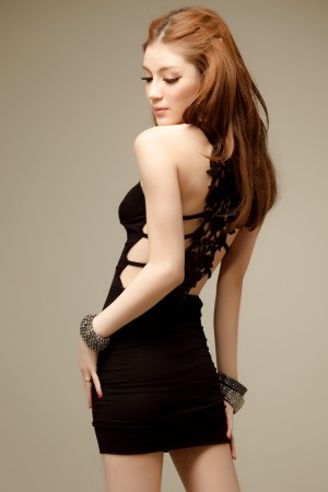 Women Hot Sexy Hollow strapless 100% Cotton Evening Package Hip Tight Slim Dress WD01
